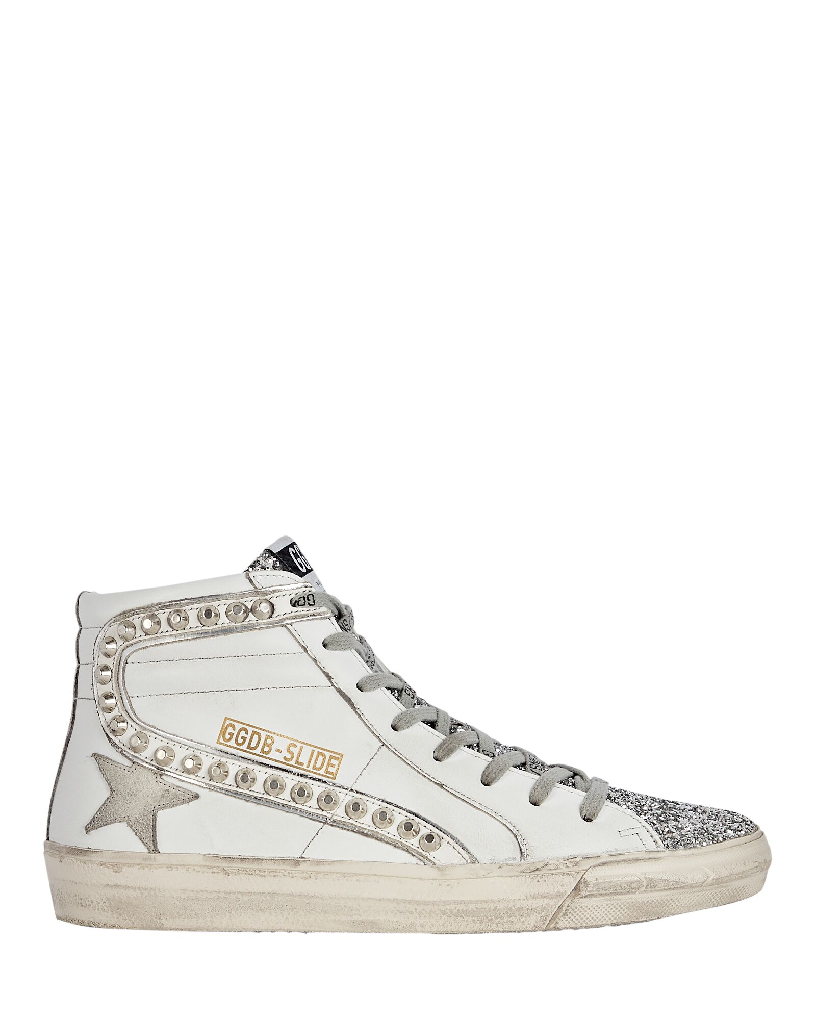 Slide Leather High-Top Sneakers, SILVER, hi-res
