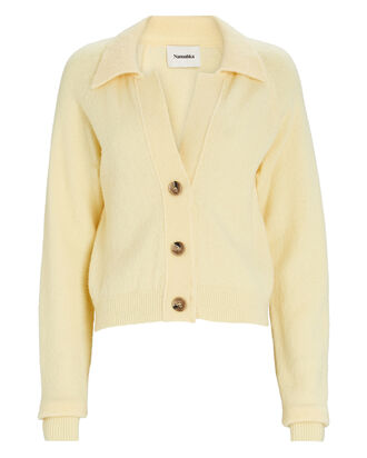 Cade Wool-Blend Polo Cardigan, YELLOW, hi-res