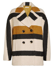 Emery Striped Double Breasted Jacket, CREAM/TANGERINE, hi-res