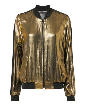 Reversible Metallic Bomber Jacket, GOLD, hi-res