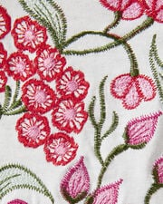 Tres Floral Embroidery Tee, IVORY, hi-res