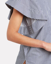 Peplum Sleeve Striped Poplin Top, NAVY/STRIPE, hi-res