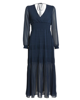 Adriana Pleated Chiffon Dress, NAVY, hi-res
