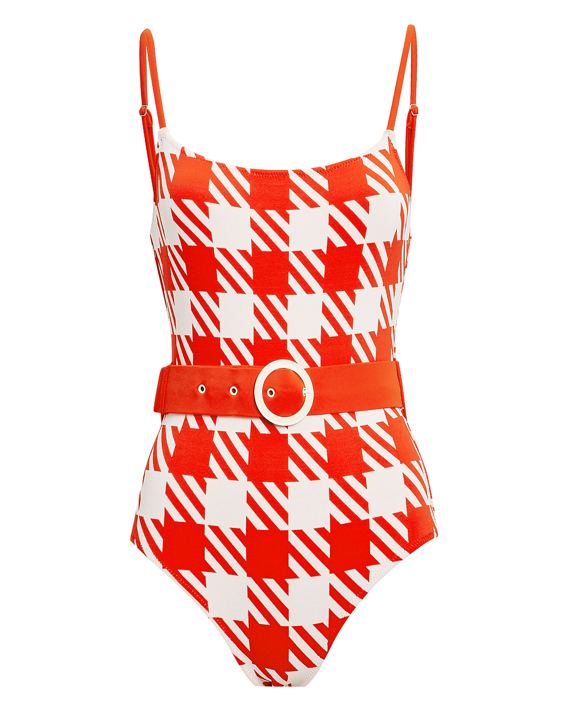 Nina Belted Gingham One Piece Swimsuit, RED/WHITE, hi-res