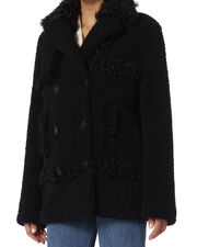Shearling Lamb Pea Coat, BLACK, hi-res
