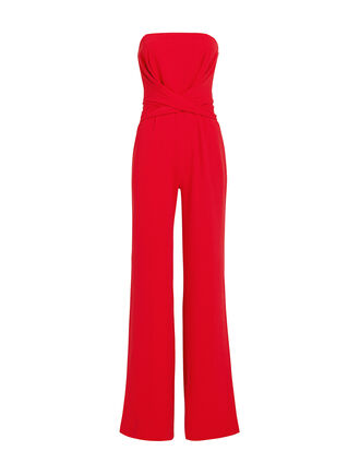 Red Crepe Jumpsuit, RED, hi-res