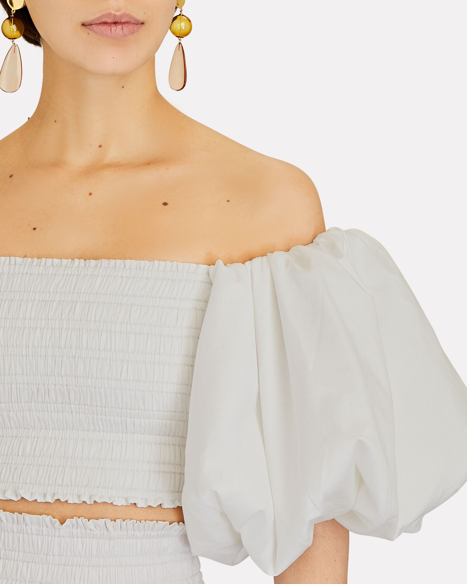 Off-The-Shoulder Puff Sleeve Top, IVORY, hi-res