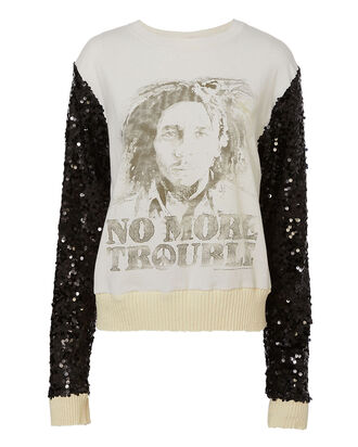 Remix Sequin-Sleeved Sweatshirt, BLACK, hi-res
