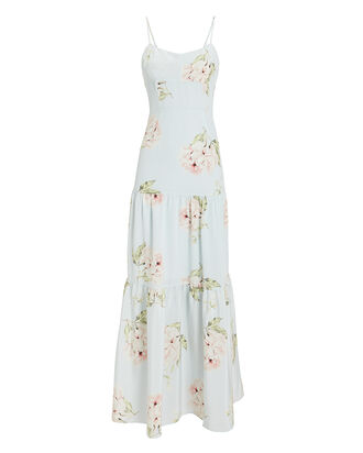 Genevieve Silk Maxi Dress, BLUE/FLORAL, hi-res