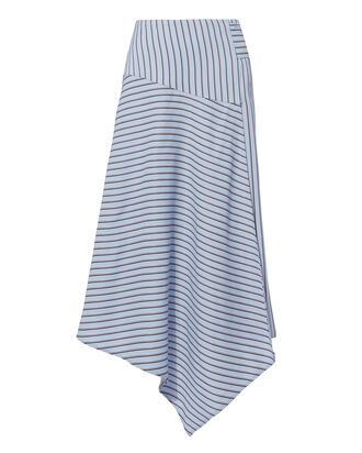 Asymmetric Striped Midi Skirt, BLUE-LT, hi-res
