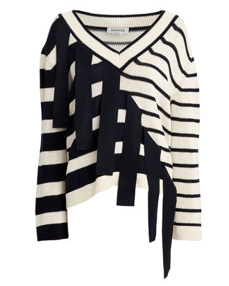Falling Stripes Sweater, NAVY/WHITE, hi-res
