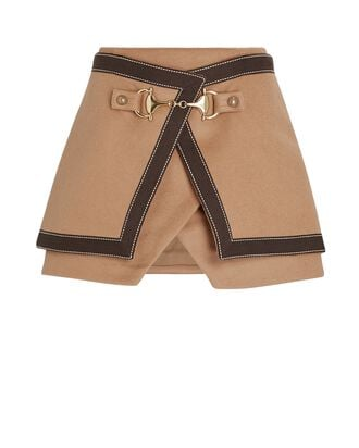 Layered Wool Wrap Mini Skirt, BROWN, hi-res