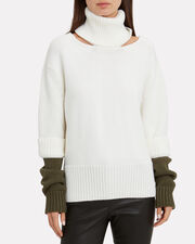 Double Cuff Slashed Sweater, WHITE/OLIVE, hi-res