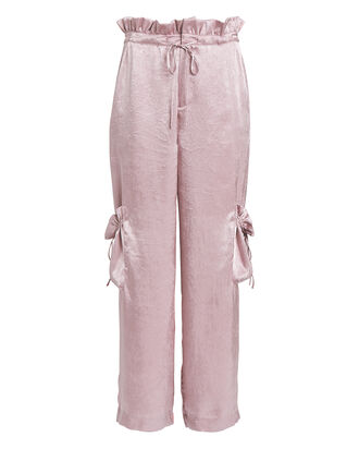 Ruched Satin Paperbag Pants, PALE PINK, hi-res