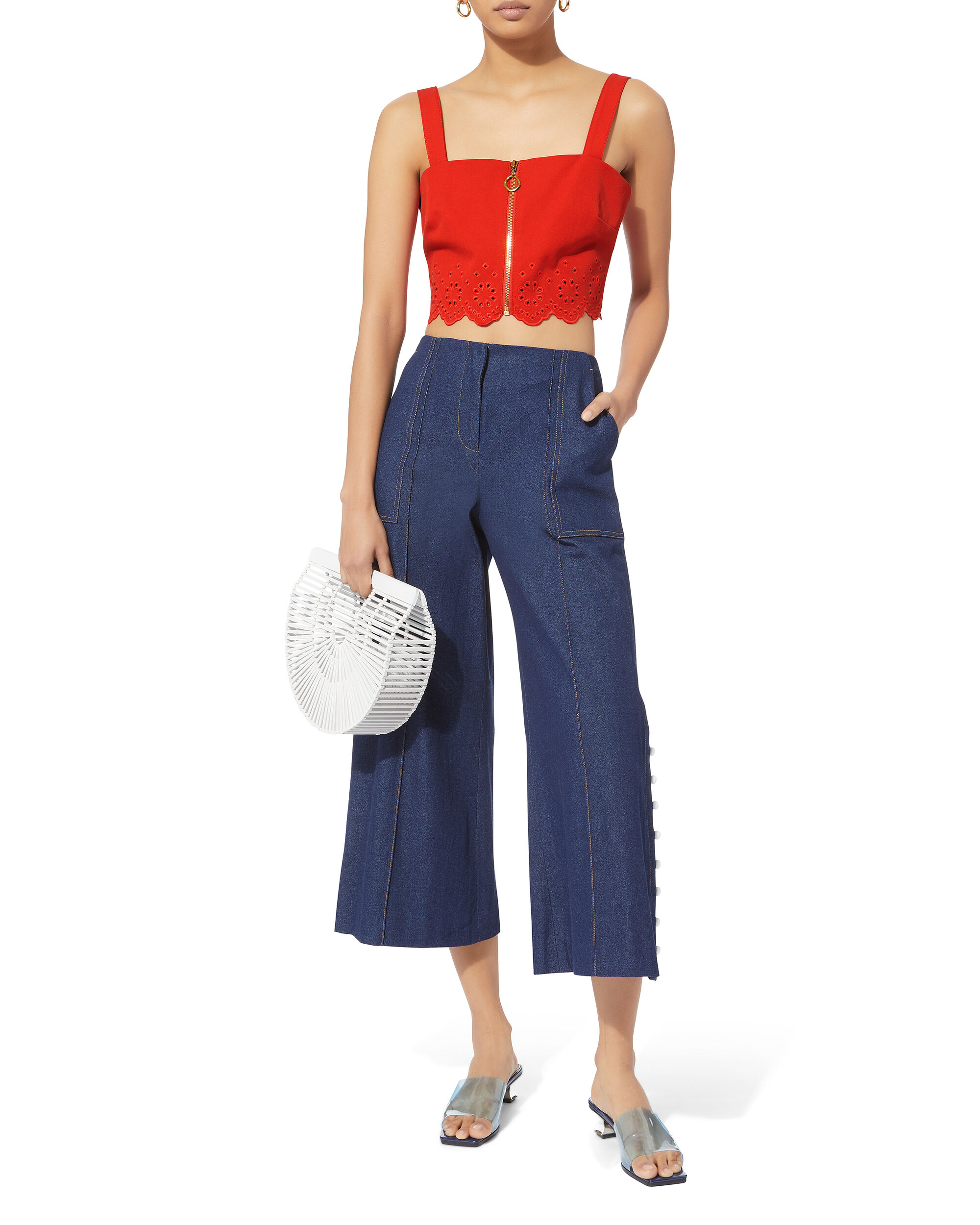 Red Eyelet Crop Top, RED, hi-res