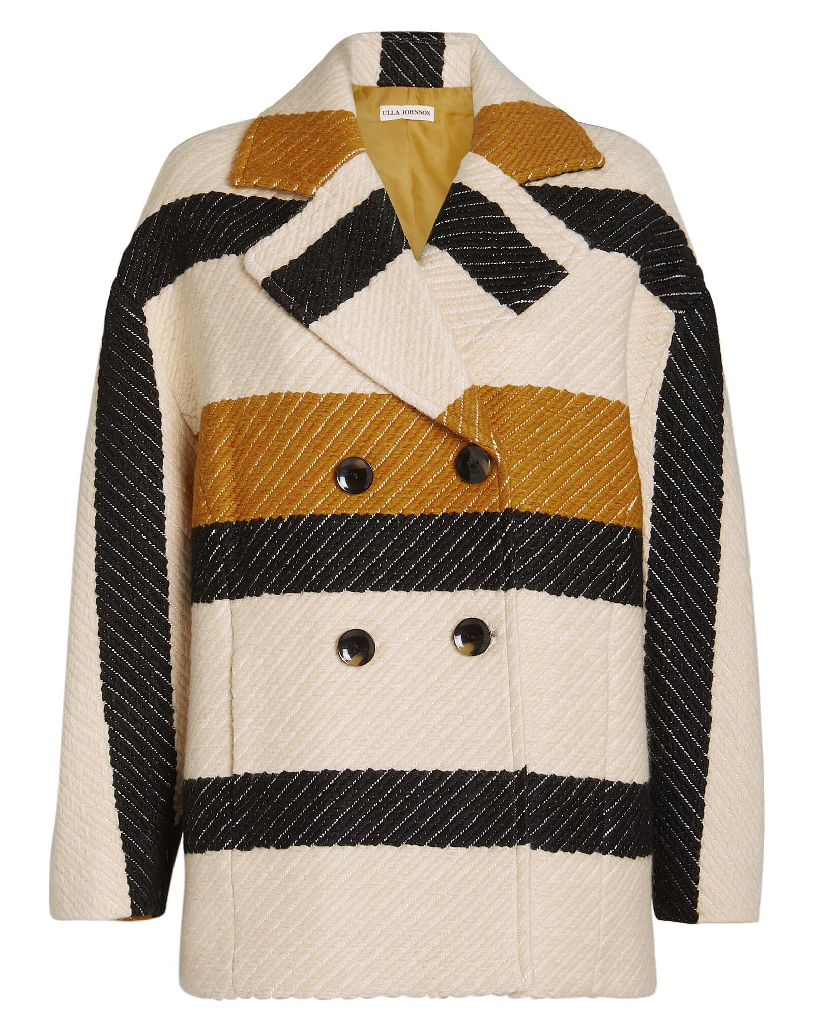 Emery Striped Double Breasted Jacket, ORANGE, hi-res