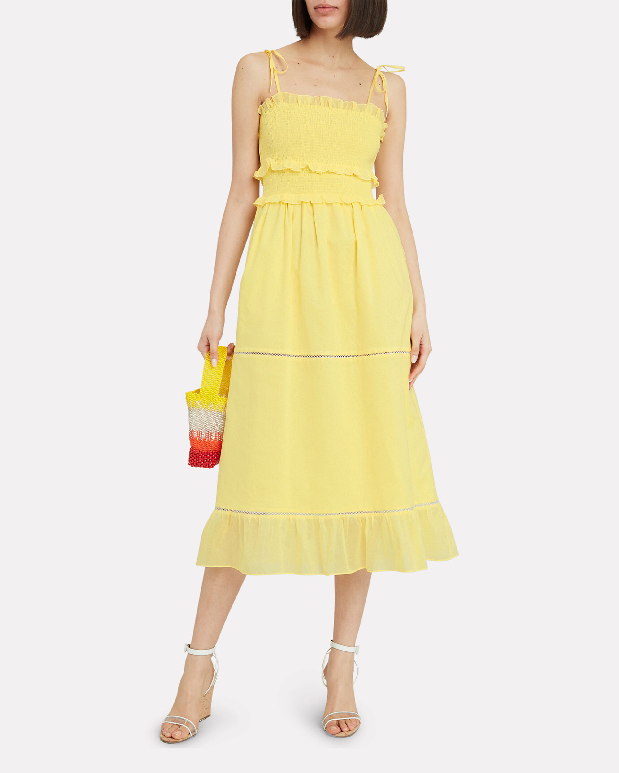 Luna Smocked Sleeveless Dress, YELLOW, hi-res