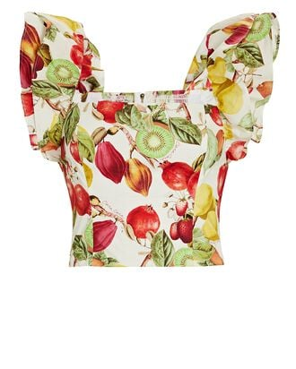 Darby Tropical Fruit Crop Top, MULTI, hi-res