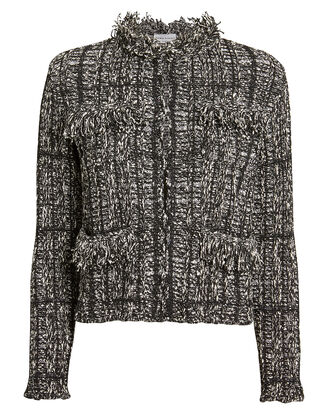 Fringe Knit Jacket, BLACK/WHITE, hi-res