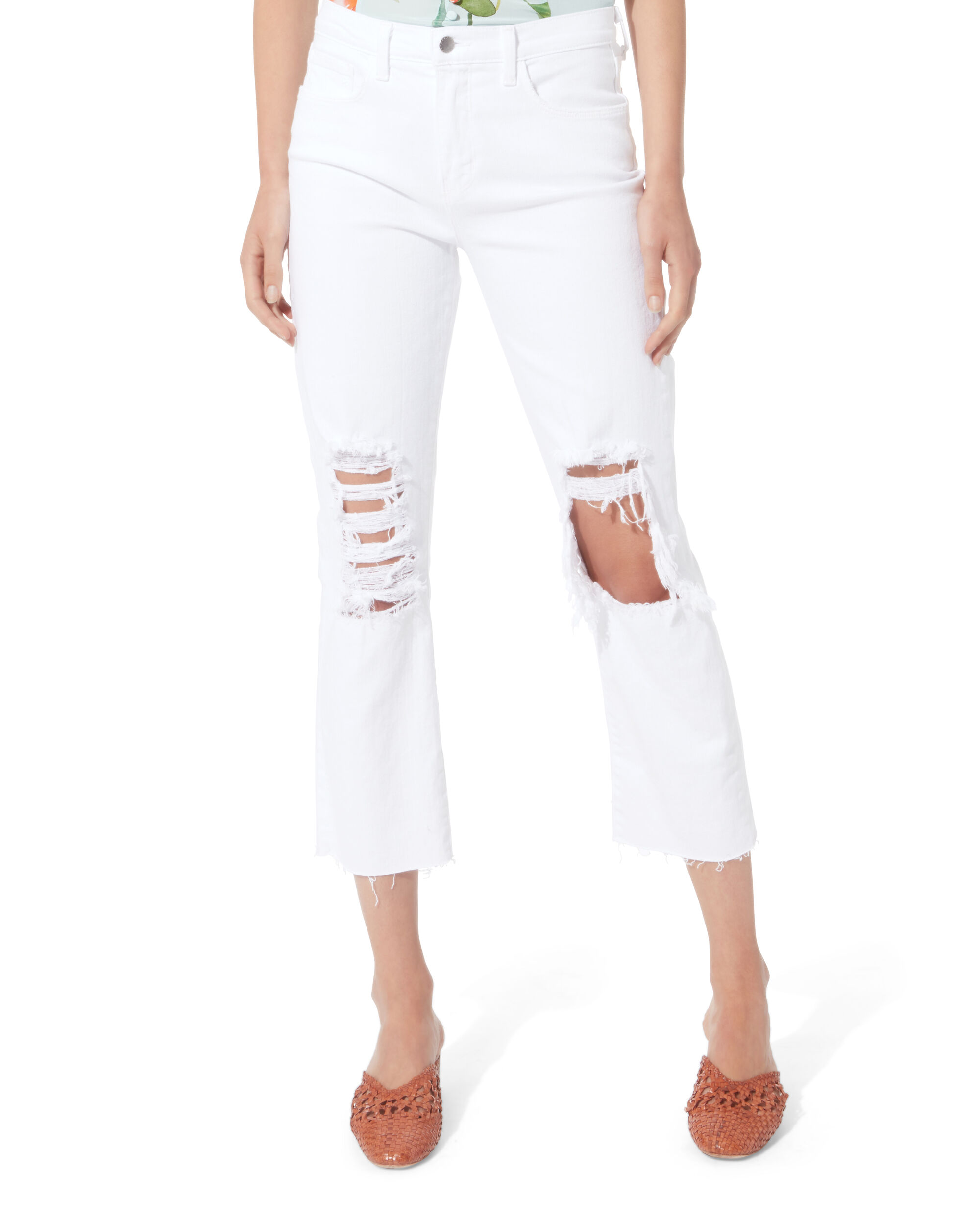 Daria Destructed Crop Jeans, WHITE, hi-res