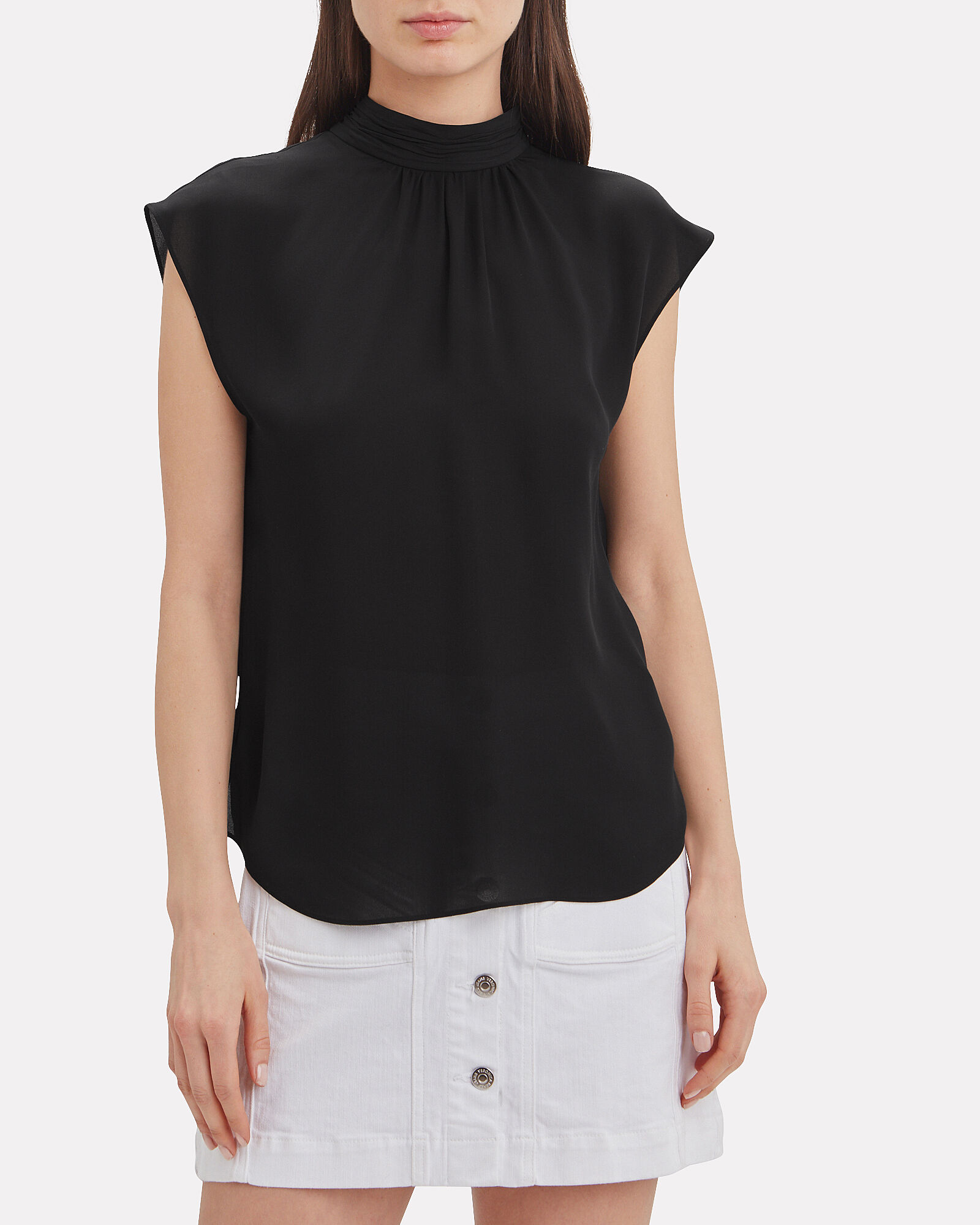 Tristen Mock Neck Tie Blouse, BLACK, hi-res