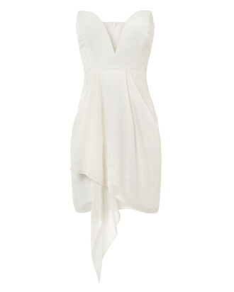 White Strapless Velvet Burnout Dress, WHITE, hi-res