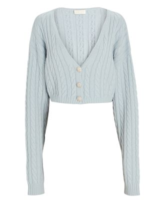 Phyllis Cropped Cable Knit Cardigan, LIGHT BLUE, hi-res
