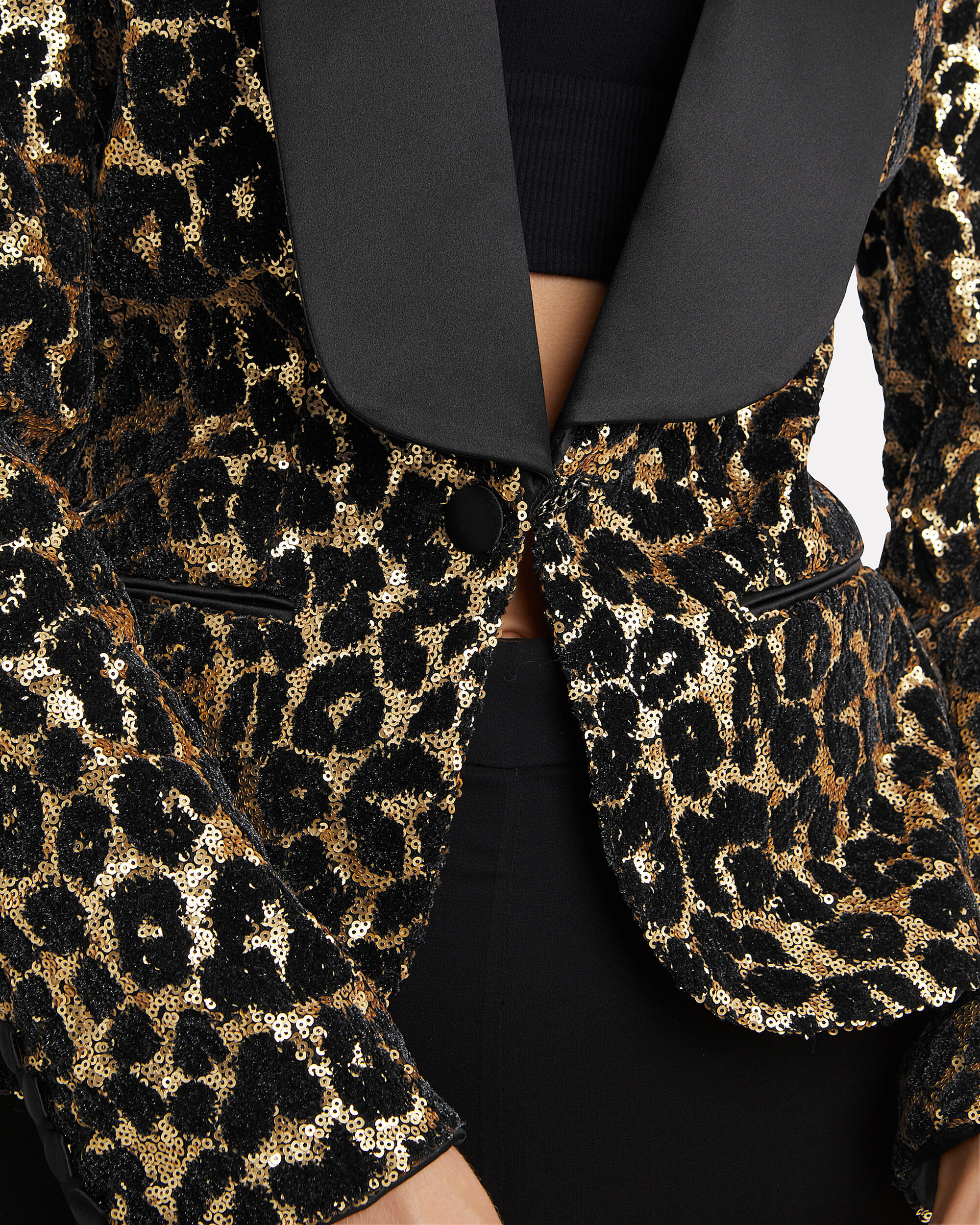 Leopard Sequin Smoking Blazer, LEOPARD/BLACK, hi-res