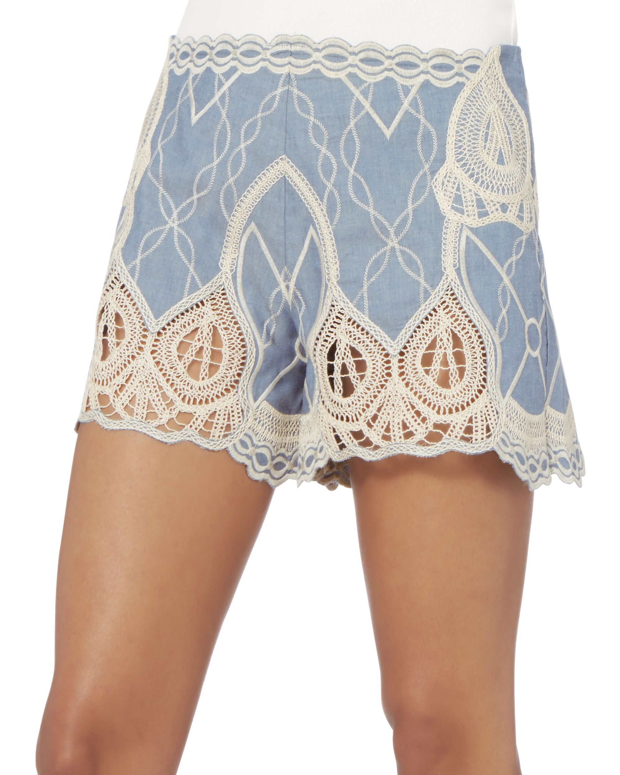 Chambray Crochet Embroidered Shorts, DENIM, hi-res