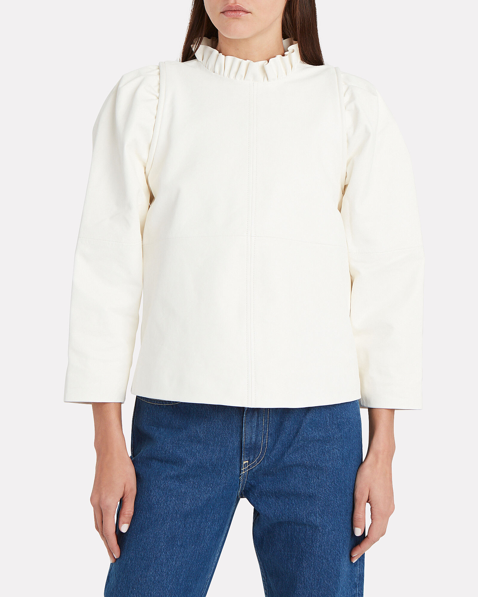 Lidia Puff Sleeve Leather Top, WHITE, hi-res