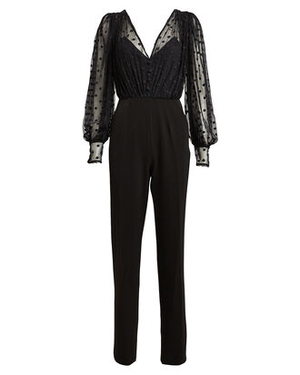 Bernadette Swiss Dot Jumpsuit, BLACK, hi-res