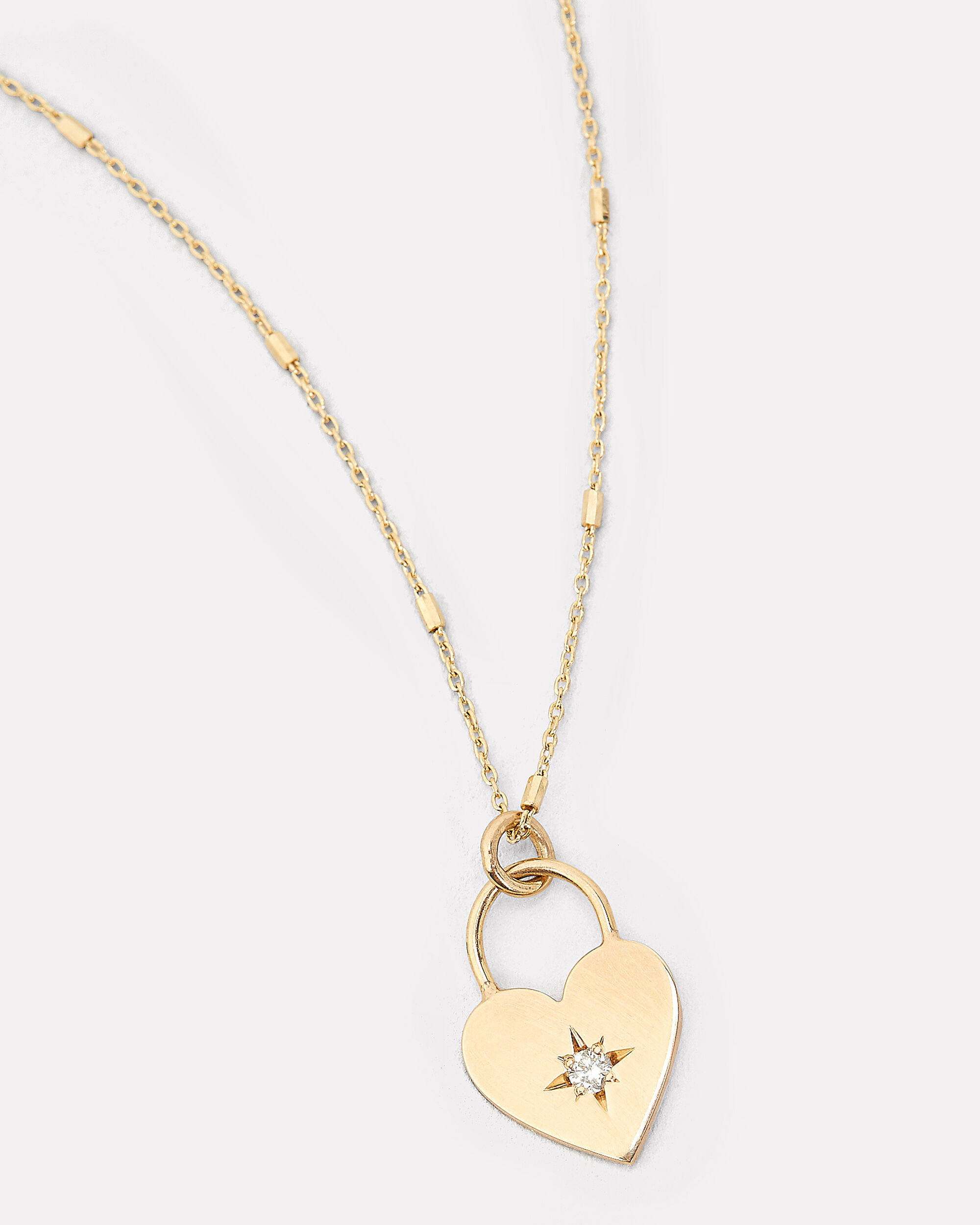 Small Heart Padlock Necklace, GOLD, hi-res