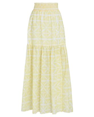 Adeline Printed Tiered Midi Skirt, YELLOW, hi-res