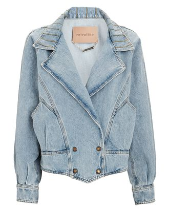 Ellie Double-Breasted Denim Jacket, LIGHT WASH DENIM, hi-res