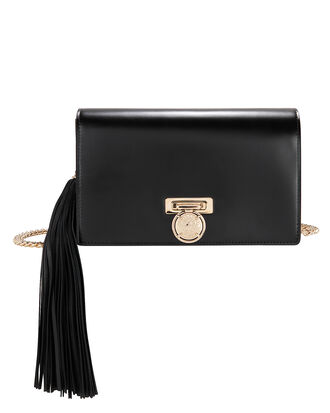 Side Tassel Leather Pochette Clutch Bag, BLACK, hi-res