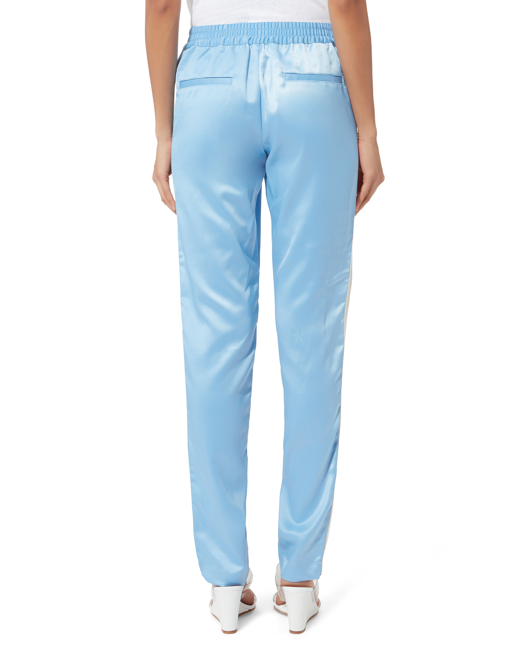 Track Striped Silk Pants, BLUE, hi-res
