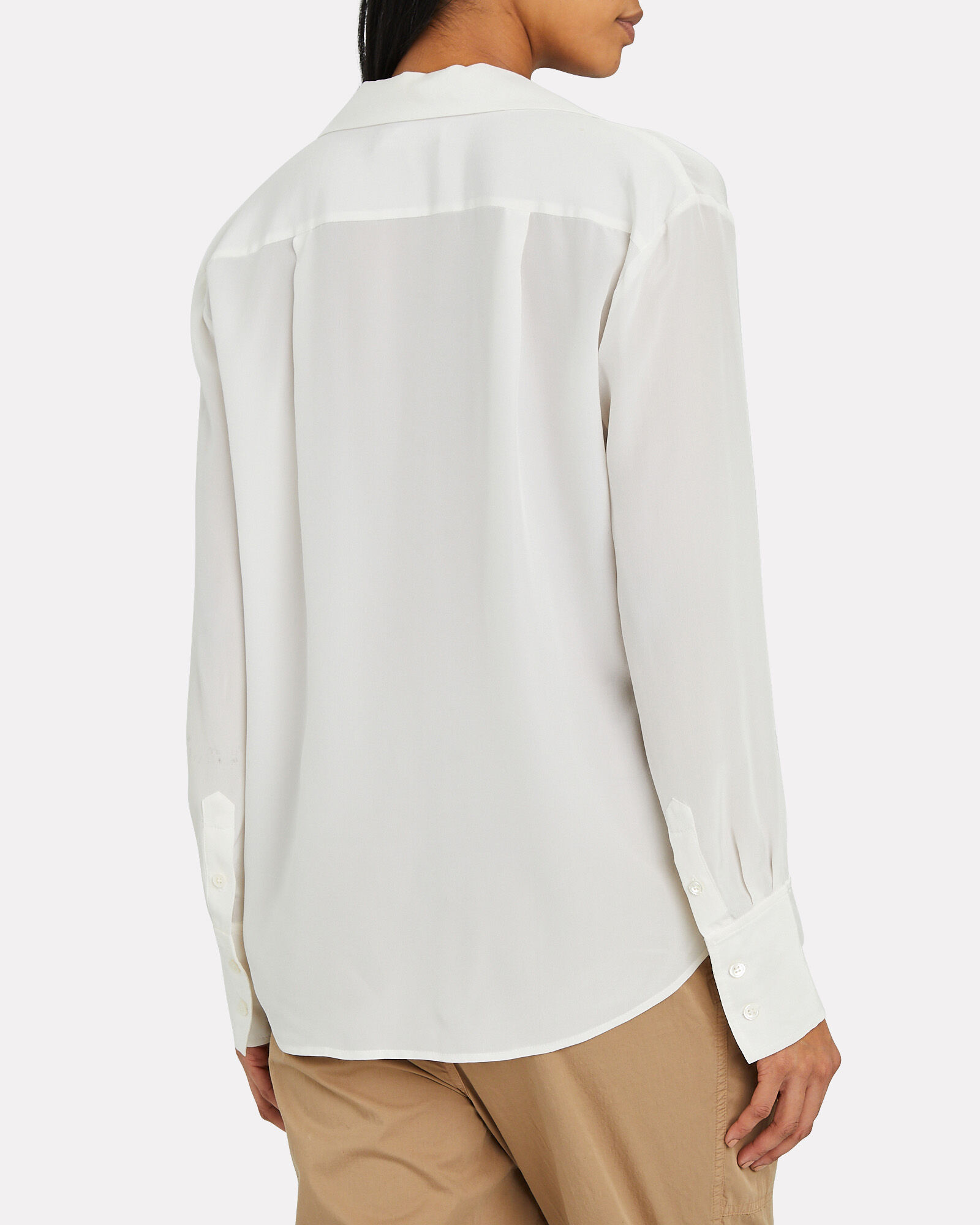 Silk Button-Down Blouse, WHITE, hi-res