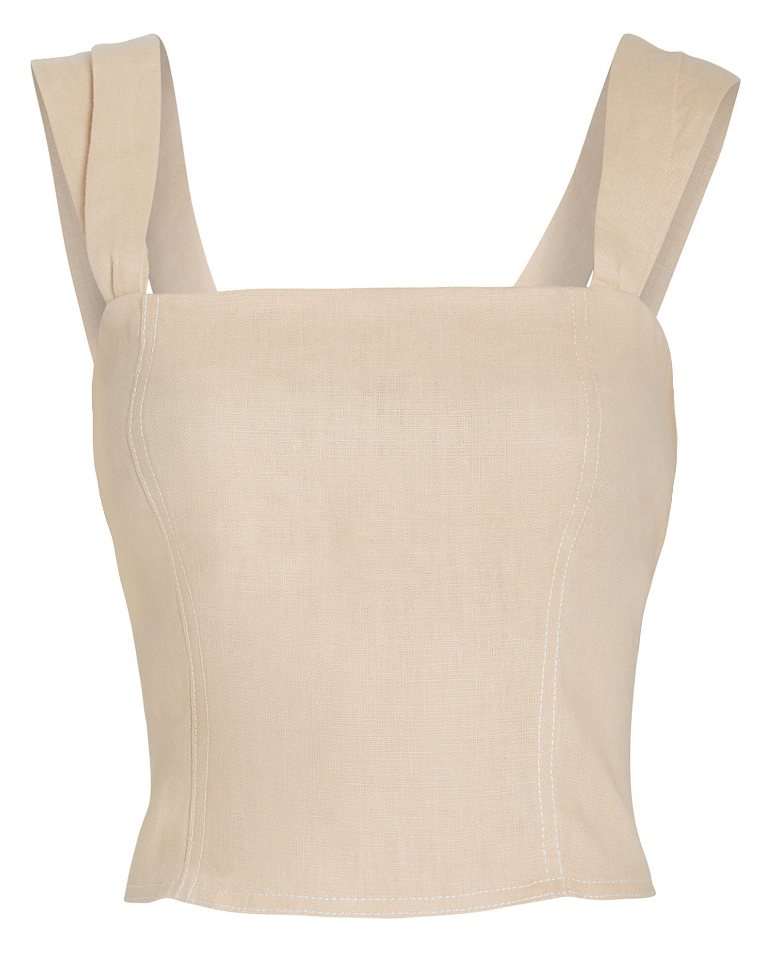 Cropped Linen Bustier Tank, IVORY, hi-res