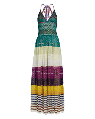 Crochet Halter Maxi Dress, RAINBOW, hi-res