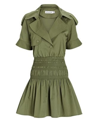 Organic Cotton Mini Trench Dress, OLIVE, hi-res
