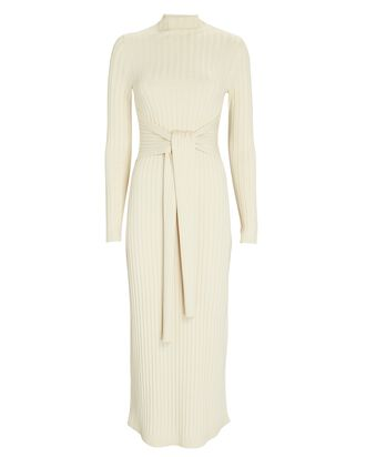 Ariana Tie-Front Sweater Dress, IVORY, hi-res