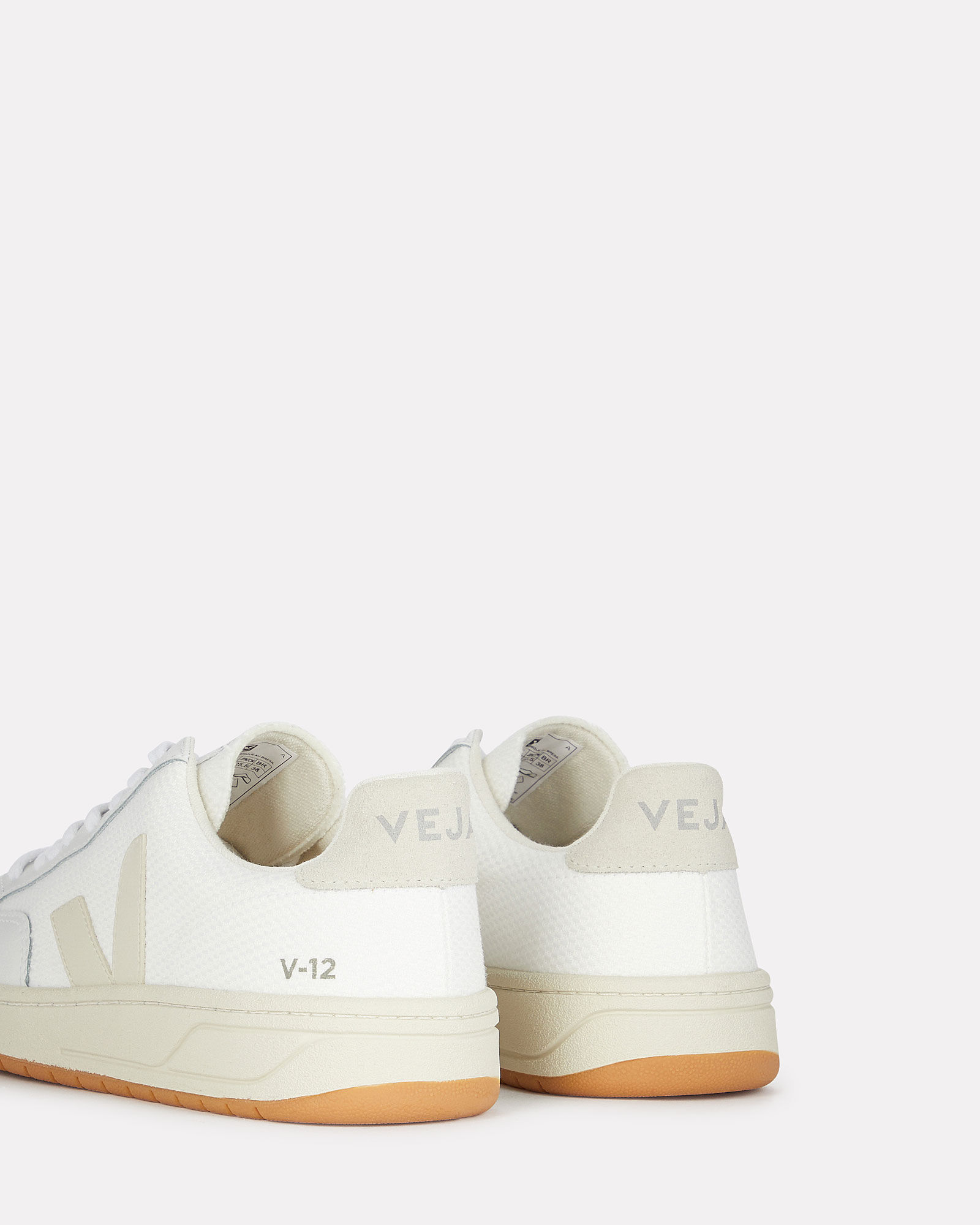 V-12 Leather Sneakers, WHITE/BEIGE, hi-res