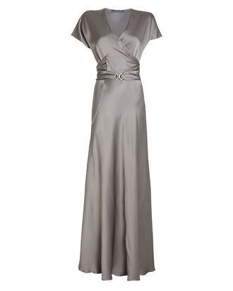 Belted Satin Wrap Gown, GREY, hi-res