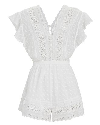 Tadeo Embroidered Poplin Romper, WHITE, hi-res