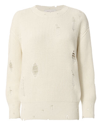 Ecru Shredded Sweater, WHITE, hi-res