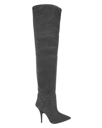 Over-The-Knee Suede Boots, GREY, hi-res
