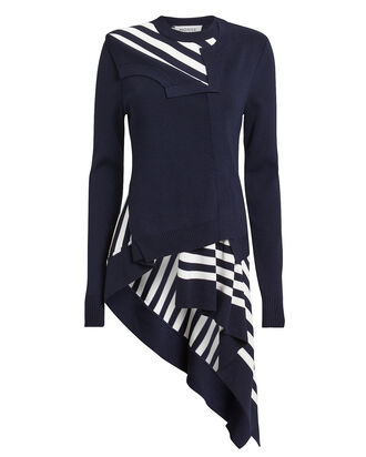 Striped Asymmetric Cardigan, NAVY, hi-res