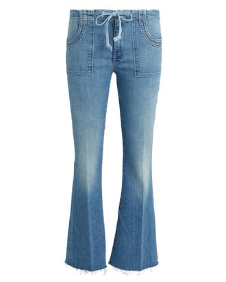 Tie Patch Weekender Flared Jeans, DENIM, hi-res