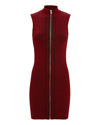 Zip Ribbed Mini Dress, RED/BLACK, hi-res