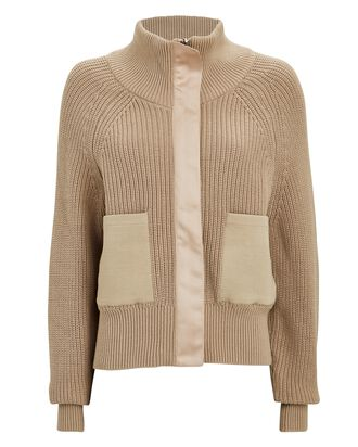 Delfern Rib Knit Zip-Up Jacket, BEIGE, hi-res